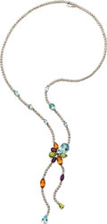 Estate Jewelry:Necklaces, Multi-Stone, Diamond, White Gold Necklace. ...