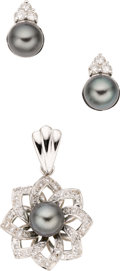 Estate Jewelry:Suites, South Sea Cultured Pearl, Diamond, White Gold Jewelry Suite. ...