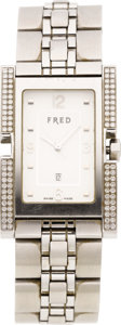 Estate Jewelry:Watches, Fred Gentleman's Diamond Stainless Steel Paris Wristwatch, modern....
