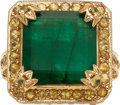 Estate Jewelry:Rings, Emerald, Yellow Sapphire, Gold Ring, Sue Gragg. ...