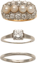 Estate Jewelry:Lots, Cultured Pearl, Diamond, Platinum, Gold Rings. ...