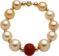 Estate Jewelry:Bracelets, South Sea Cultured Pearl, Carnelian, Gold Bracelet. ...