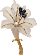 Estate Jewelry:Brooches - Pins, Diamond, Sapphire, Frosted Rock Crystal Quartz, Gold Brooch. ...