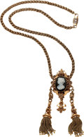 Estate Jewelry:Necklaces, Antique Hardstone Cameo, Seed Pearl, Enamel, Gold Necklace. ...
