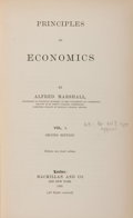 Books:Business & Economics, Alfred Marshall. Principles of Economics. Volume I. London: Macmillan, 1891. Second edition. From the James an...