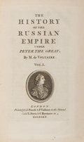 Books:World History, Voltaire. The History of the Russian Empire Under Peter the Great. London: J. Nourse, et al., [1763]. First English ... (Total: 2 Items)