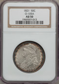 Bust Half Dollars: , 1821 50C AU50 NGC. O-105A. NGC Census: (40/321). PCGS Population(60/306). Mintage: 1,305,797. Numismedia Wsl. Price for pr...