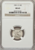 Barber Dimes: , 1901-O 10C MS65 NGC. NGC Census: (8/5). PCGS Population (8/8).Mintage: 5,620,000. Numismedia Wsl. Price for problem free N...