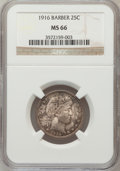 Barber Quarters: , 1916 25C MS66 NGC. NGC Census: (12/2). PCGS Population (27/3).Mintage: 1,788,000. Numismedia Wsl. Price for problem free N...
