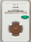 Proof Two Cent Pieces, 1871 2C PR64 Red and Brown NGC. CAC. NGC Census: (48/78). PCGSPopulation (104/87). Mintage: 960. Numismedia Wsl. Price...