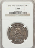 Commemorative Silver: , 1925 50C Vancouver AU55 NGC. NGC Census: (12/2077). PCGS Population(18/2983). Mintage: 14,994. Numismedia Wsl. Price for p...