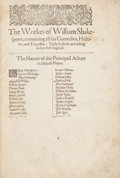 Books:Literature Pre-1900, William Shakespeare. [Mr. William Shakespeares Comedies,Histories, and Tragedies. Published according to the true...