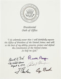Autographs:U.S. Presidents, [U. S. Presidents]. Presidential Oath of Office, Signed byFive Presidents. A handsomely printed statement of th...