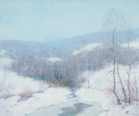 ERNEST ALBERT (American, 1857-1946) A White Winter's Blanket Oil on canvas 20 x 24 inches (50.8 x