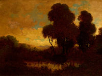 WILLIAM KEITH (American, 1839-1911) Evening Landscape Oil on canvas 10 x 14 inches (25.4 x 35.6 c