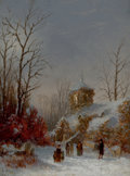 Fine Art - Painting, American, THOMAS LOCHLAN SMITH (American, 1835-1884). ChristmasService, 1867. Oil on canvas. 8 x 6 inches (20.3 x 15.2 cm).Signe...