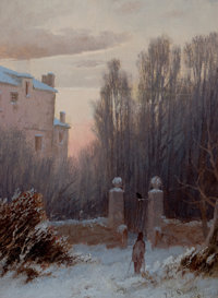 THOMAS LOCHLAN SMITH (American, 1835-1884) The Old Estate in Winter, 1867 Oil on canvas 8 x 6 inc