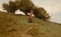 Fine Art - Painting, American, HELEN SHELDON JACOBS SMILLIE (American, 1854-1926). When the Dewis in the Grass, 1884. Oil on canvas . 15-1/4 x 24 inch...