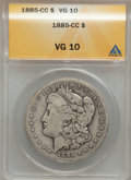1885-CC $1 VG10 ANACS. NGC Census: (1/8687). PCGS Population (3/17907). Mintage: 228,000. Numismedia Wsl. Price for prob...