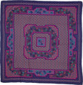Luxury Accessories:Accessories, Hermes Purple, Pink, & Teal Cashmere Shawl. ...