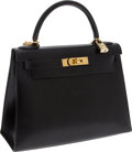 Luxury Accessories:Bags, Hermes 32cm Black Calf Box Leather Rigide Kelly Bag with GoldHardware. ... (Total: 2 Items)