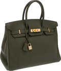 Luxury Accessories:Bags, Hermes 35cm Vert Olive Clemence Leather Birkin Bag with GoldHardware. ...