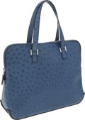 Luxury Accessories:Bags, Hermes Bleu Roi Ostrich Escapade Bag with Palladium Hardware. ...(Total: 2 Items)
