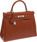 Luxury Accessories:Bags, Hermes 35cm Brick Calf Box Leather Retourne Kelly Bag with Palladium Hardware . ...