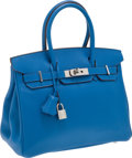 Luxury Accessories:Bags, Hermes 30cm Blue Mykonos Swift Leather Birkin Bag with PalladiumHardware . ...