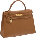 Luxury Accessories:Bags, Hermes 32cm Gold Courchevel Leather Rigide Kelly Bag with GoldHardware. ...
