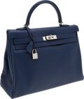 Luxury Accessories:Bags, Hermes 35cm Blue Abysse Tadelakt Leather Retourne Kelly Bag withPalladium Hardware. ...