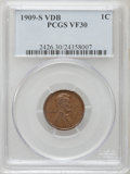 Lincoln Cents: , 1909-S VDB 1C VF30 PCGS. PCGS Population (630/4894). NGC Census: (264/2747). Mintage: 484,000. Numismedia Wsl. Price for pr...
