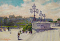 Fine Art - Painting, American:Modern  (1900 1949)  , WILLIAM H. PARTRIDGE (American, 1858-1938). Park Steps. Oilon board. 6-1/2 x 9-1/2 inches (16.5 x 24.1 cm). Signed lowe...