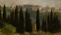 Fine Art - Painting, American:Antique  (Pre 1900), DANIEL BENNETT SCHWARTZ (American, b.1929). OutsideFlorence, 1957. Oil on canvas. 10 x 17 inches (25.4 x 43.2 cm).Sig...