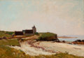 Fine Art - Painting, European:Antique  (Pre 1900), HENRY ORNE RYDER (American, 1860-1940). The Ancient Mill by theSea at Concarneau, Brittany. Oil on canvas. 15 x 21-3/4 ...
