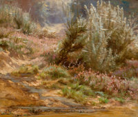 ELIZABETH STRONG (American , 1855-1941) Wildflowers by a Stream, 1888 Oil on canvas 20 x 24 inche