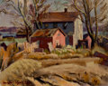 Fine Art - Painting, American:Modern  (1900 1949)  , EUGENE EDWARD SPEICHER (American, 1883-1962). Red Shed. Oilon canvas. 16 x 20 inches (40.6 x 50.8 cm). Signed lower lef...