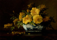 GEORGE W. SEAVEY (American, 1841-1916) Still Life of Yellow Roses in an Oriental Vase Oil on canvas<