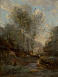 Paintings, JEAN-BAPTISTE-CAMILLE COROT (French, 1796-1875). Le Vallon des Chevres (Souvenir du Lac de Garde), circa 1872. Oil on pa...