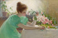 Fine Art - Painting, American, CLARA HOFFMAN (American, 1862-1897). Fragrant Flower, 1895.Oil on canvas. 14-1/4 x 22 inches (36.2 x 55.9 cm). Signed, ...