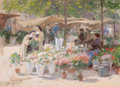 Fine Art - Painting, European, VICTOR GABRIEL GILBERT (French, 1847-1933). The Flower Market. Gouache and watercolor on board . 10 x 13-3/4 inches (25....