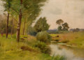 Fine Art - Painting, American, ERNEST PARTON (American, 1845-1933). On The Housatonic River,Connecticut. Oil on canvas board. 10 x 12 inches (25.4 x 3...