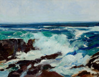 FREDERICK JUDD WAUGH (American, 1861-1940) Surf and Spindrift Oil on canvas 22 x 28 inches (55.9
