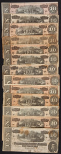 Confederate Notes:1864 Issues, T68 $10 1864. Thirteen Examples.. ... (Total: 13 notes)