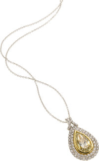 Fancy Light Yellow Diamond, Diamond, Platinum, Gold Pendant-Necklace