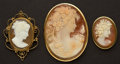 Estate Jewelry:Cameos, Three Shell Gold Cameos. ... (Total: 3 Items)