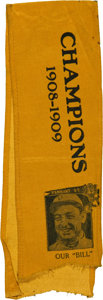 Baseball Collectibles:Others, 1908-09 Detroit Tigers Championship Souvenir Ribbon....