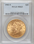 Liberty Double Eagles: , 1903-S $20 MS63 PCGS. PCGS Population (1359/358). NGC Census:(1309/278). Mintage: 954,000. Numismedia Wsl. Price for probl...