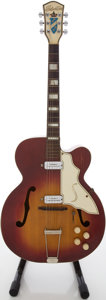 Musical Instruments:Electric Guitars, 1950's Kay Silvertone Cherry Sunburst Archtop Electric Guitar....