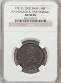 Colonials, 1783 1C Washington & Independence Cent, Small Military Bust,Plain Edge AU58 NGC. Baker-4a, W-10155, R.5....